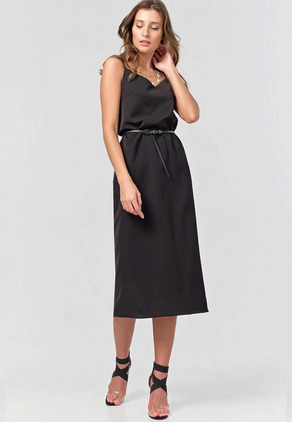 женское платье-комбинация fly, черное
