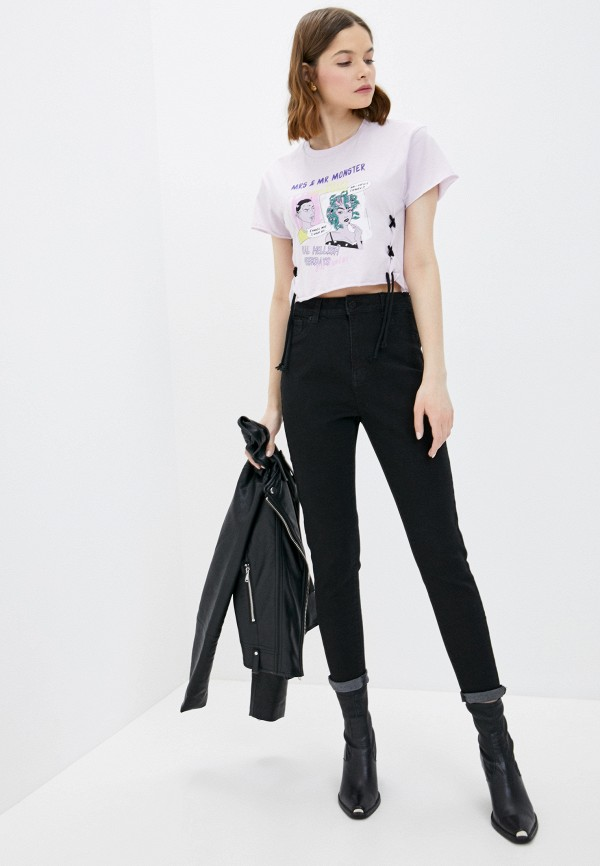Фото 2 - Женскую футболку Befree фиолетового цвета