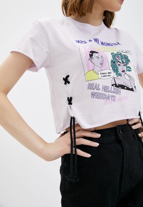 Фото 4 - Женскую футболку Befree фиолетового цвета