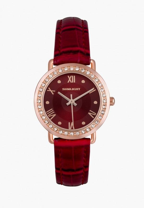 женские часы sunlight, красные