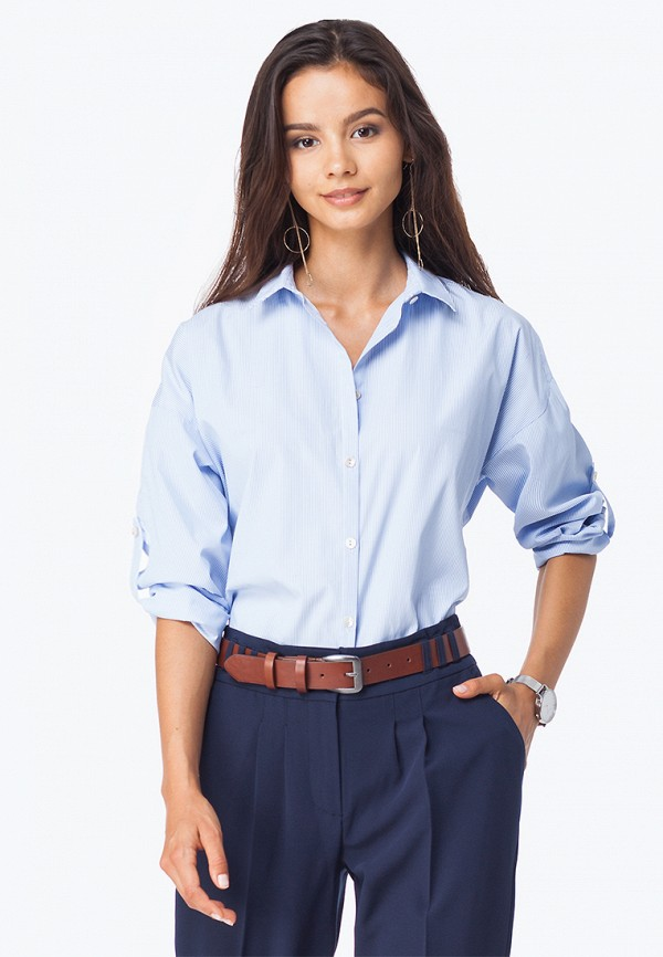 Купить Блуза Vilatte, mp002xw1gomr, голубой, Осень-зима 2018/2019