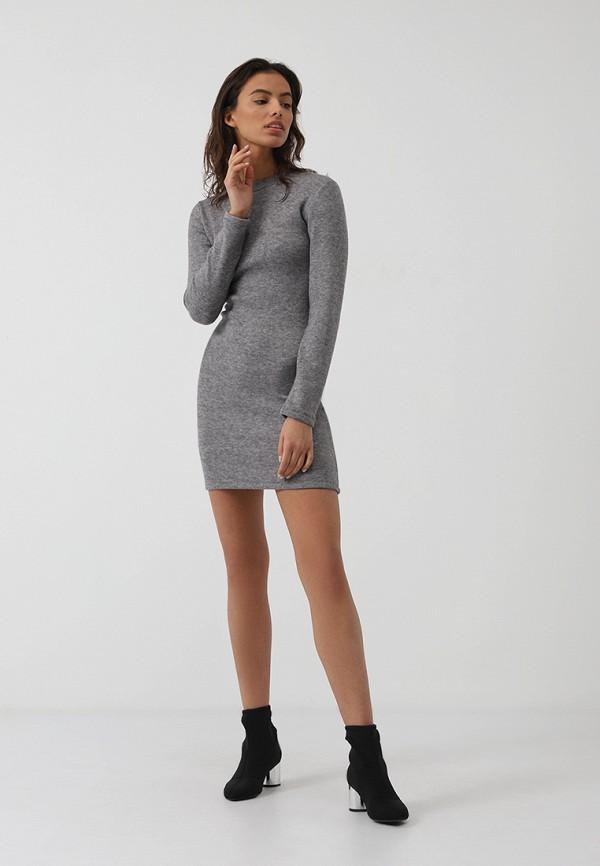 Фото 2 - Женское платье Lime серого цвета