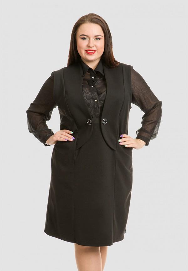 женское повседневные платье luxury plus, черное