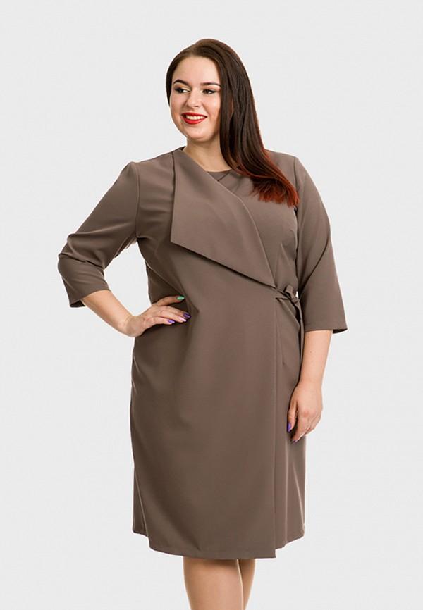 женское платье миди luxury plus, коричневое