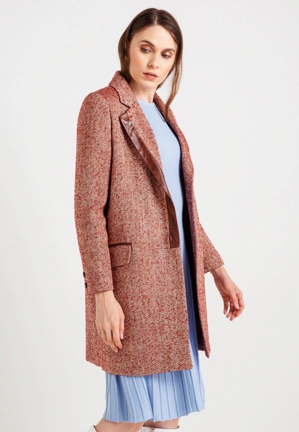 женское пальто bgn, бордовое
