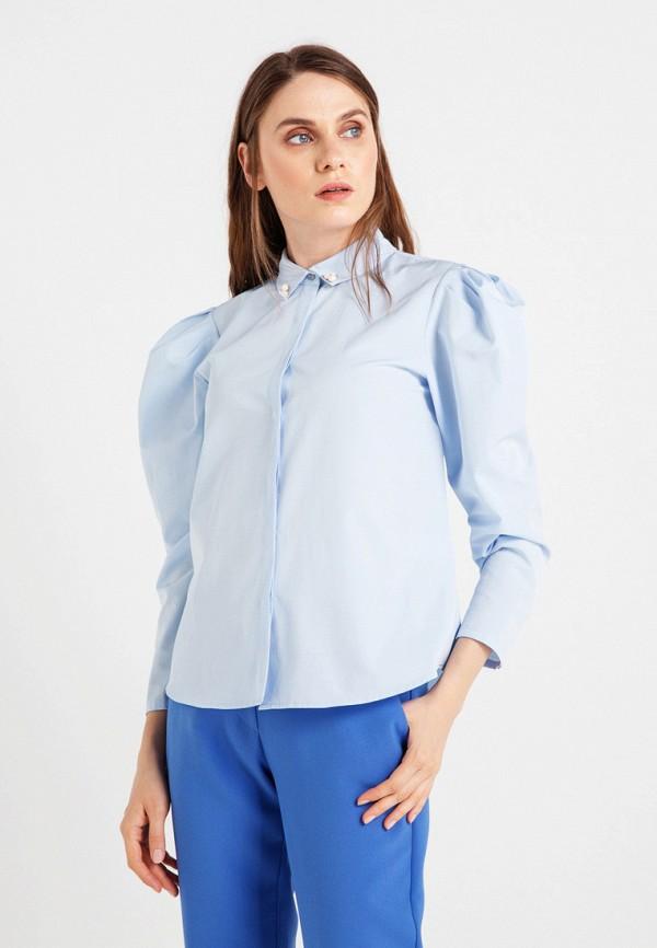 женская рубашка с длинным рукавом bgn, голубая