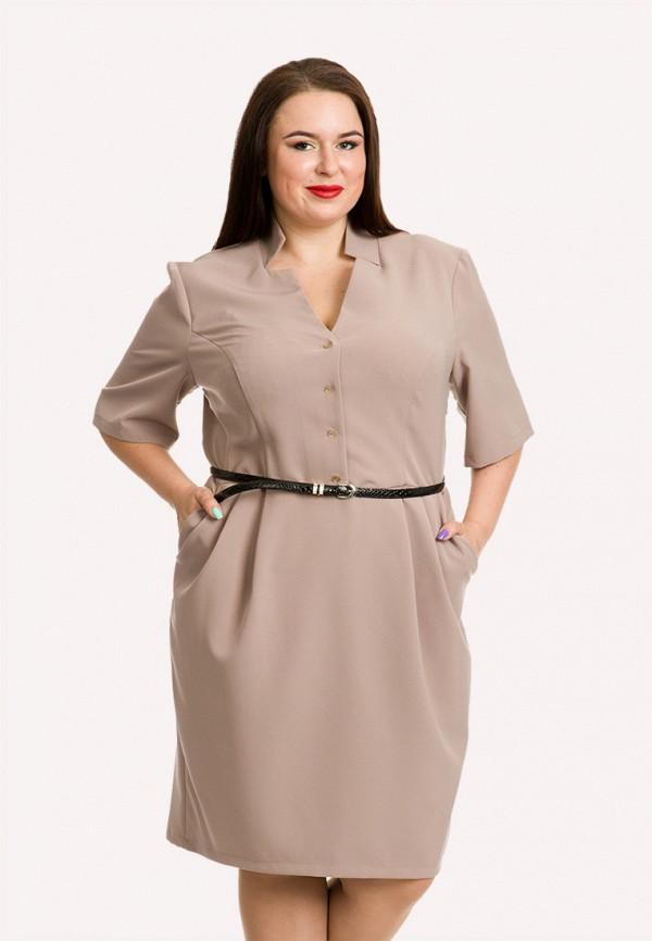 женское платье миди luxury plus, бежевое