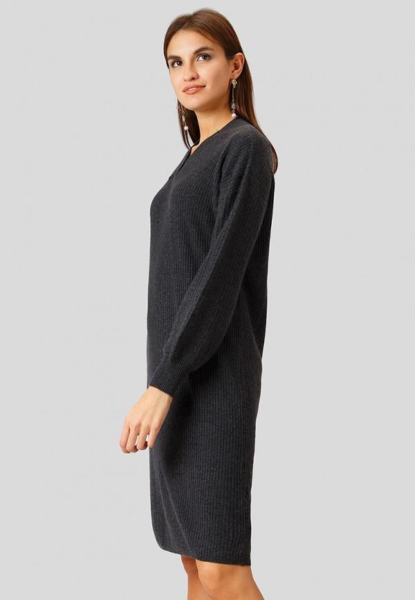 Фото 4 - Женское вязаное платье Finn Flare серого цвета
