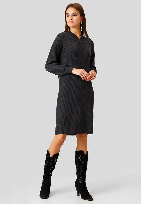 Фото 2 - Женское вязаное платье Finn Flare серого цвета