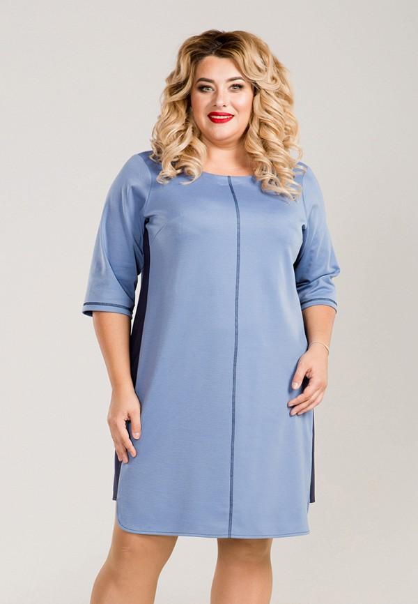 женское повседневные платье luxury plus, голубое