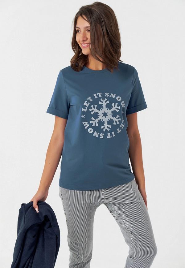 женская футболка fly, синяя