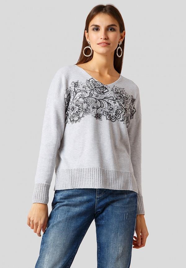 женский пуловер finn flare, серый
