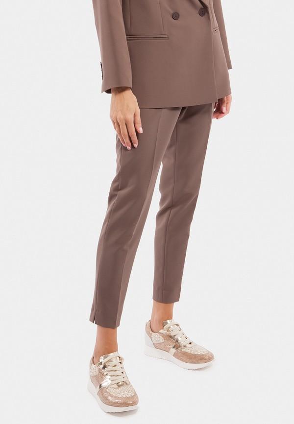 женские классические брюки vladi collection, коричневые