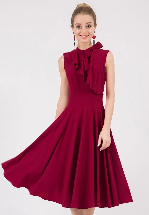 женское платье миди marichuell, бордовое