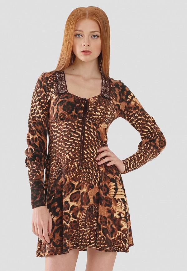 женское повседневные платье ано, коричневое