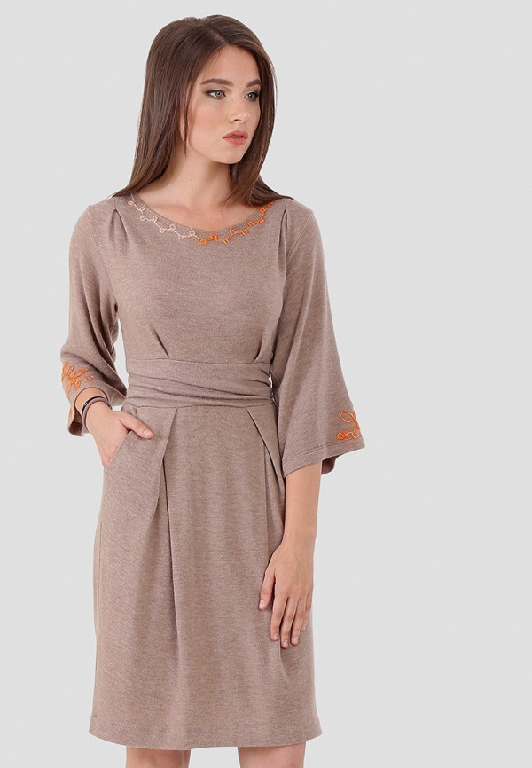 женское повседневные платье ано, бежевое