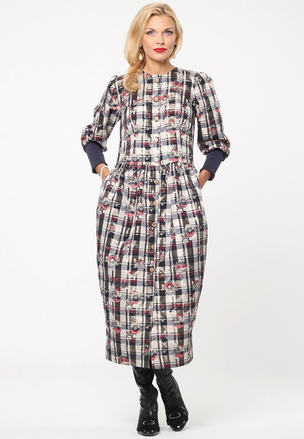 женское платье миди kata binska, серое