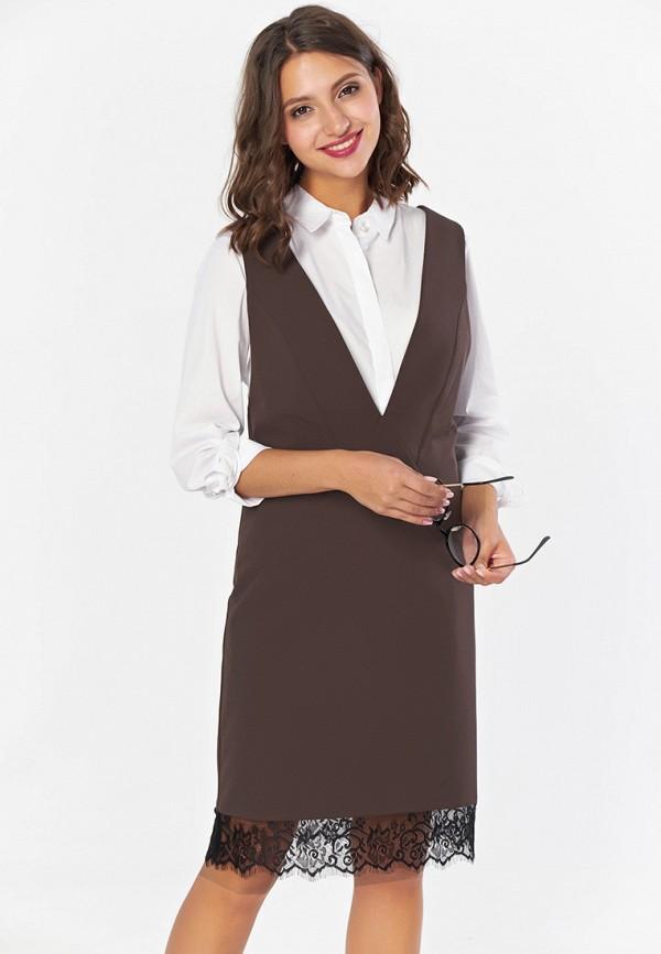 женское повседневные платье fly, коричневое
