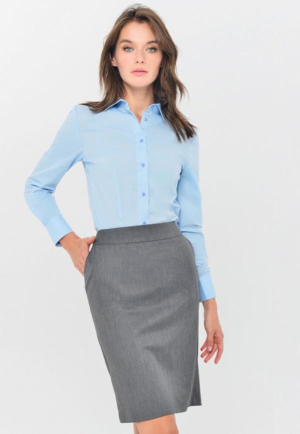 женская рубашка с длинным рукавом mondigo, голубая