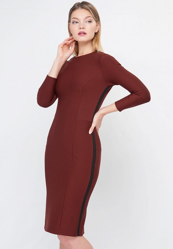 женское платье миди limonti, коричневое