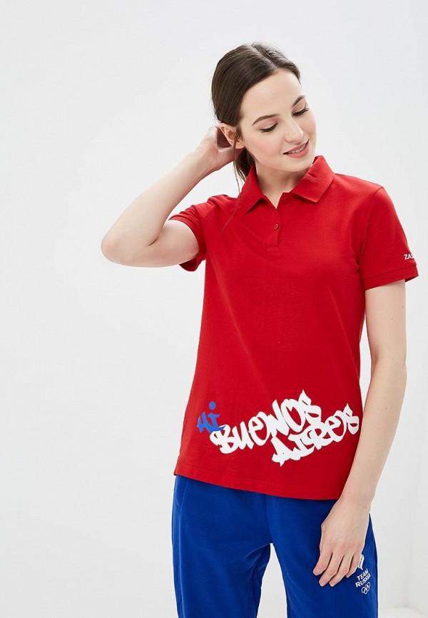 женское поло zasport, красное