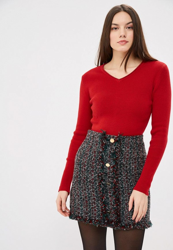 женский пуловер free age, красный