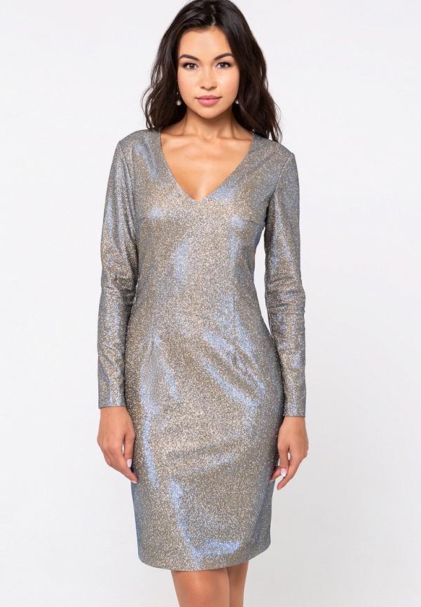 женское вечерние платье eva, серебряное