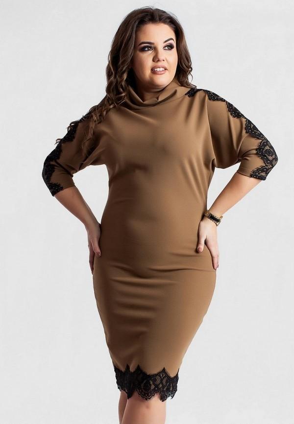 женское повседневные платье modna anka, коричневое