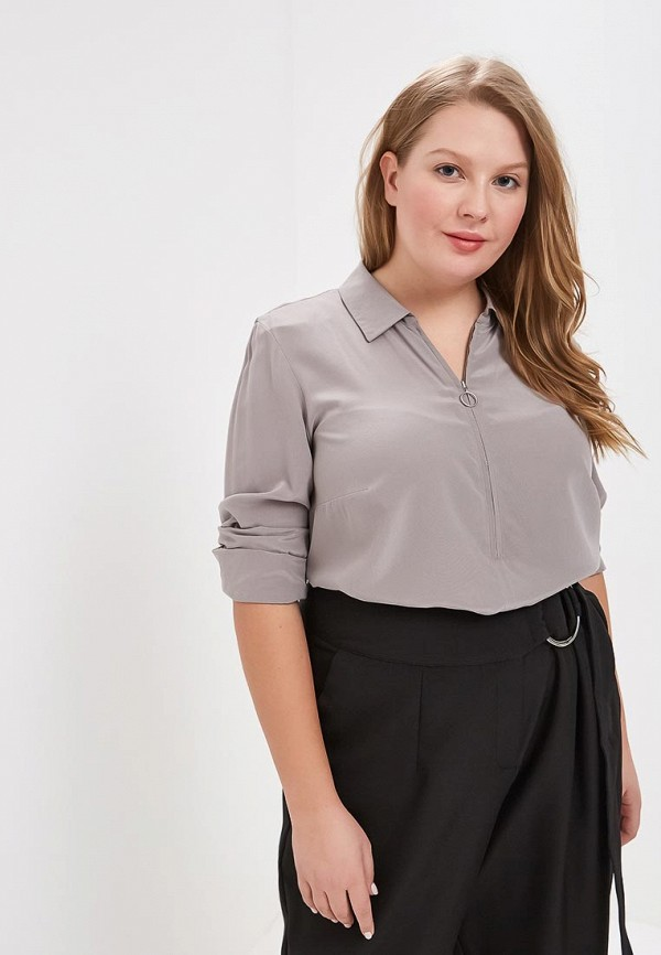женская рубашка с длинным рукавом madeleine, серая