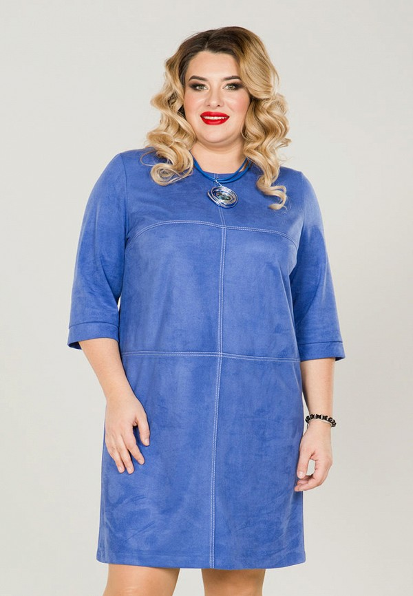 женское повседневные платье luxury plus, синее