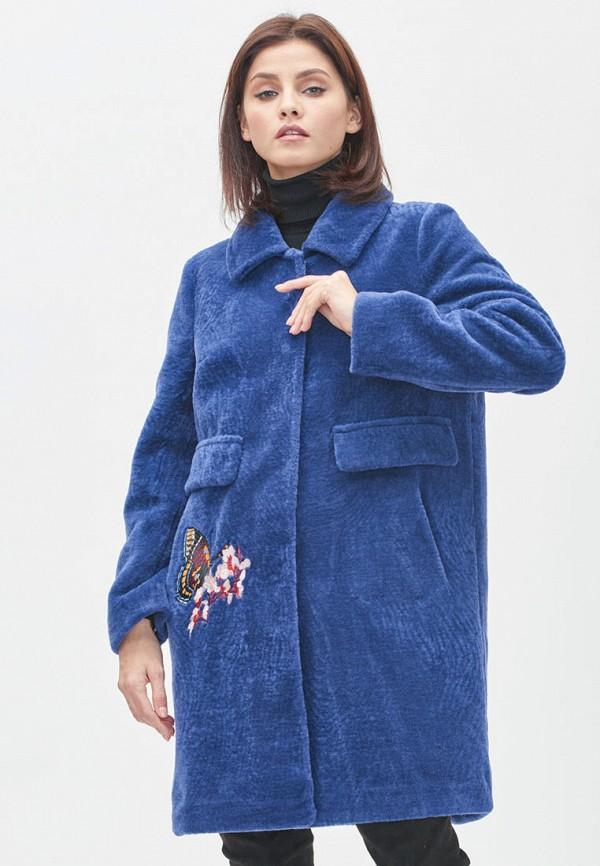женская шуба silverfox, синяя