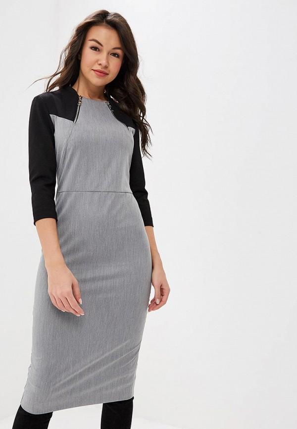женское платье-футляр bezko, серое