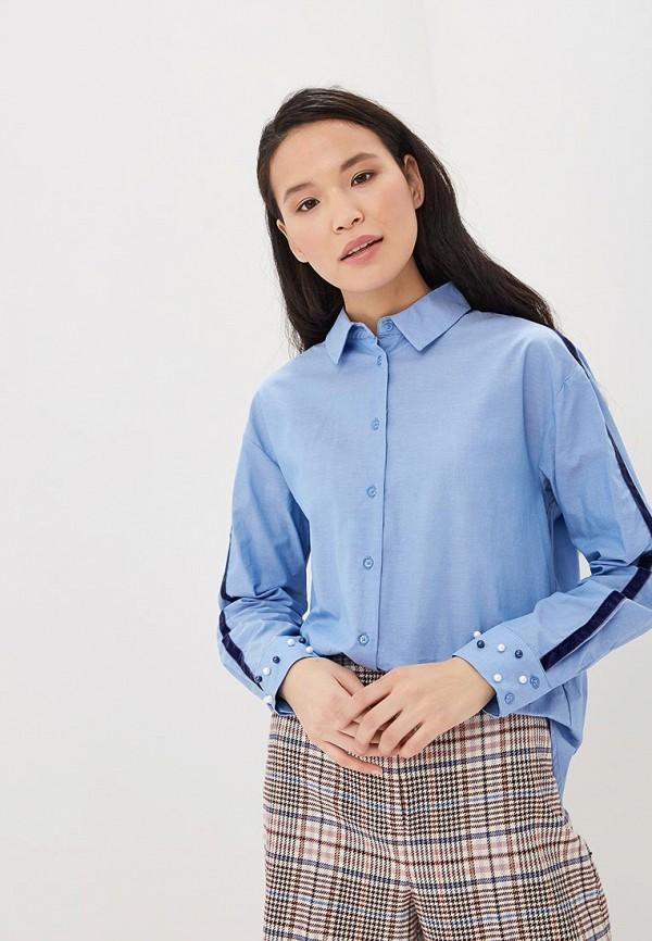 женская рубашка с длинным рукавом zarina, синяя