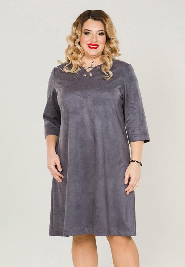 женское платье миди luxury plus, серое