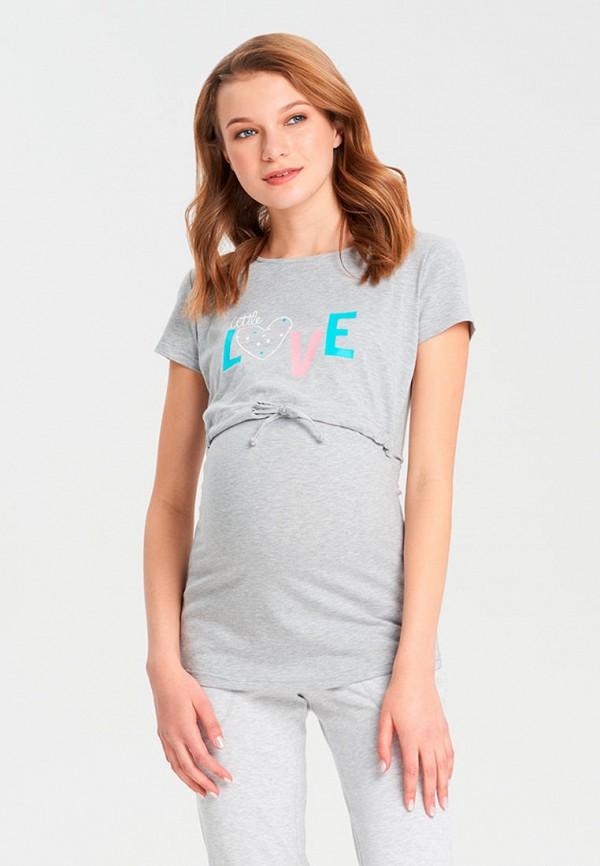 женская футболка для беременных budumamoy, серая