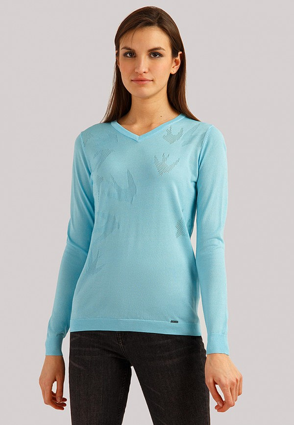 женский пуловер finn flare, голубой