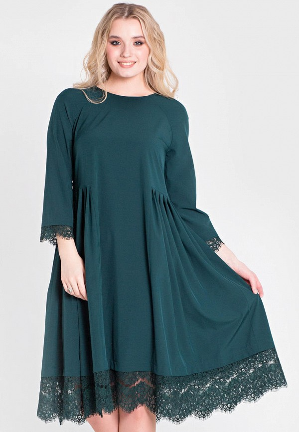 женское платье миди filigrana, зеленое