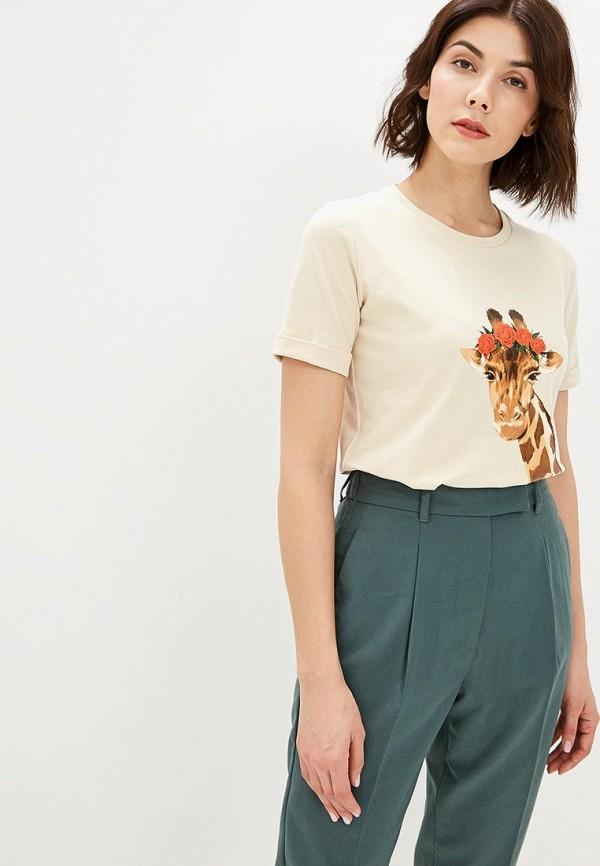женская футболка fashion.love.story, бежевая