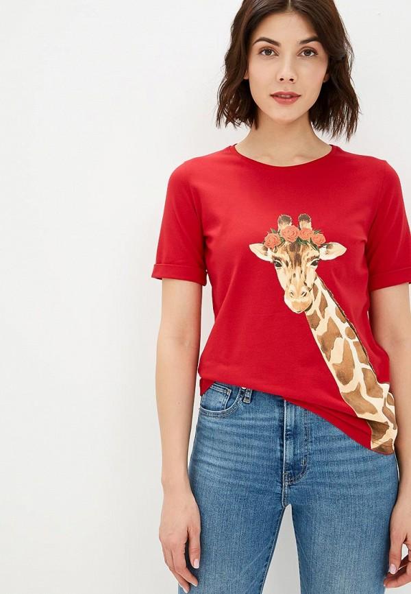 женская футболка fashion.love.story, красная