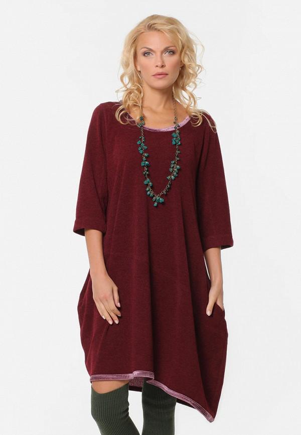 женское платье миди kata binska, бордовое