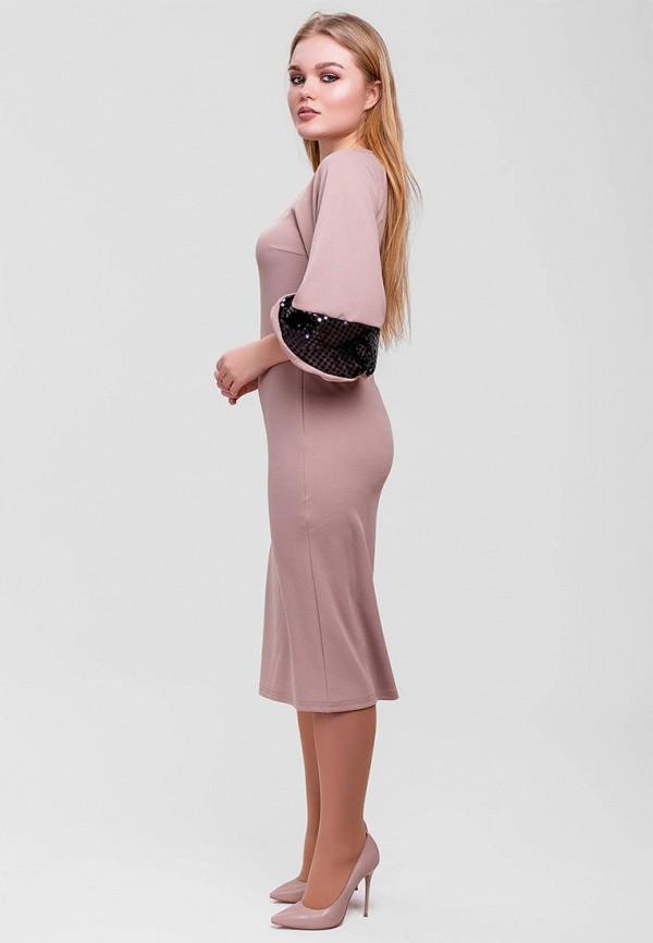 Фото 2 - Женское платье SFN бежевого цвета