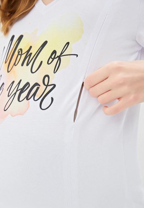 Фото 4 - Женскую футболку Chic mama белого цвета