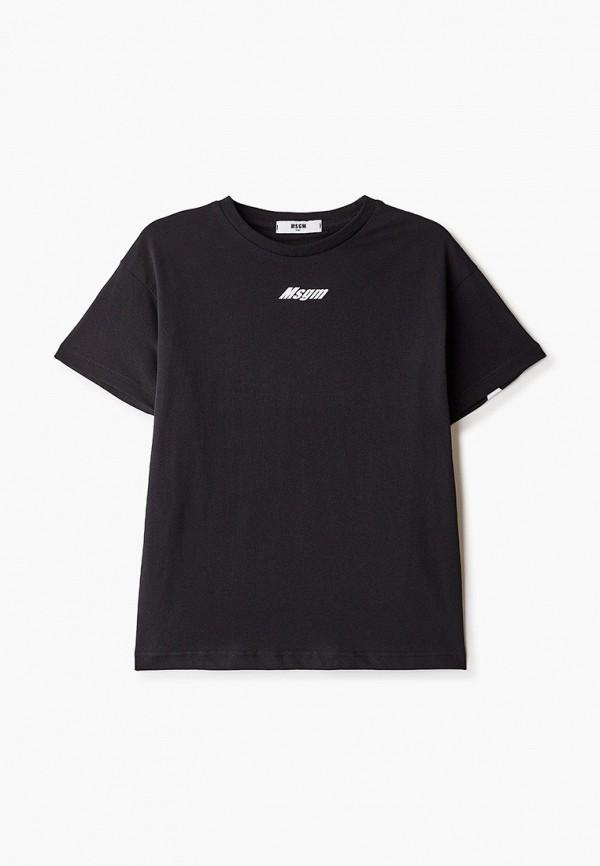 футболка с коротким рукавом msgm kids для мальчика, черная