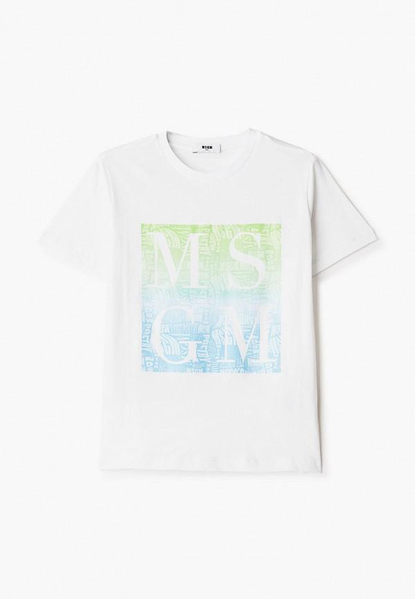 футболка с коротким рукавом msgm kids для мальчика, белая
