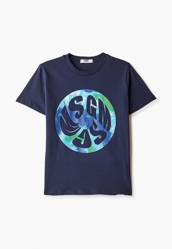 футболка с коротким рукавом msgm kids для мальчика, синяя