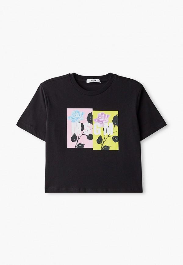 футболка с коротким рукавом msgm kids для девочки, черная