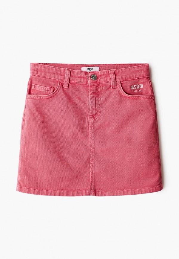 юбка msgm kids для девочки, розовая