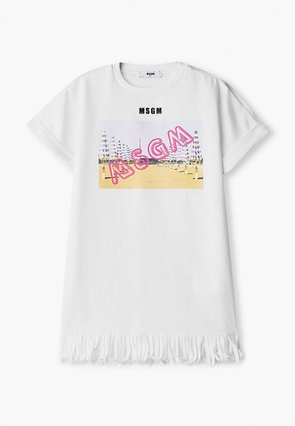 футболка с коротким рукавом msgm kids для девочки, белая