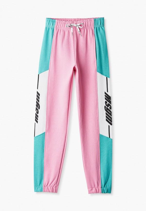 спортивные брюки msgm kids для девочки, розовые