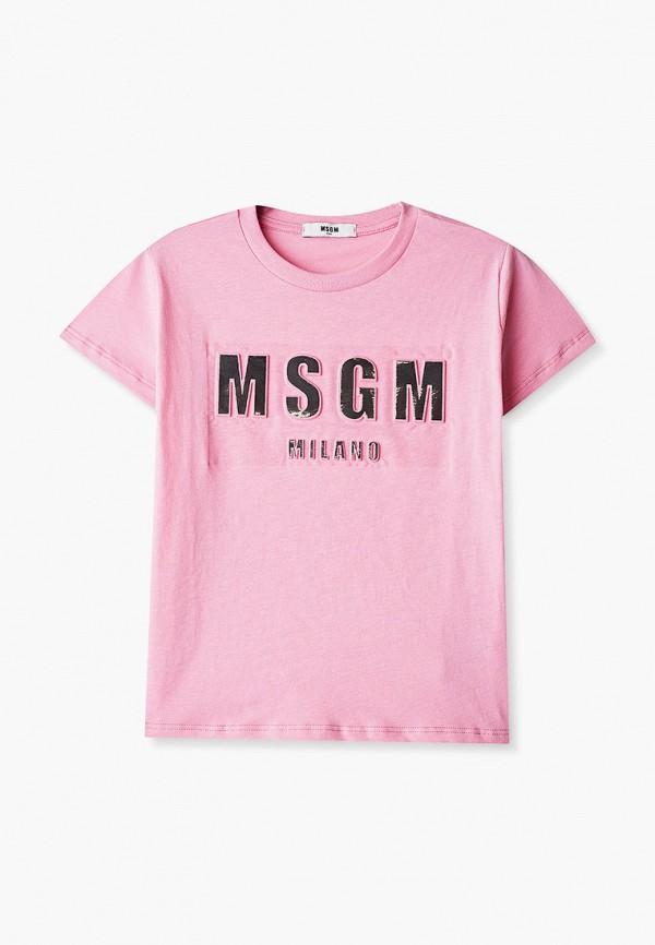 футболка с коротким рукавом msgm kids для девочки, розовая
